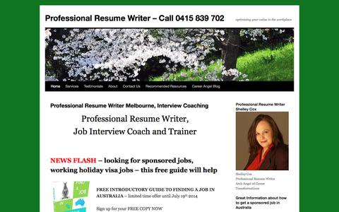 Screenshot of Home Page careerangel.com.au - Resumes, Cover Letters. Selection Criteria Address. Interview Coaching, Melbourne - captured Oct. 1, 2014