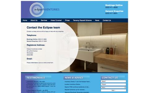 Screenshot of Contact Page eclipseinventories.co.uk - Eclipse Inventories - Contact Us for Property Inventory Services - captured Oct. 1, 2014