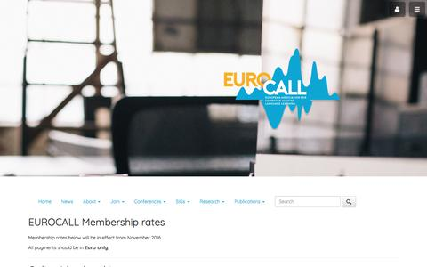 Screenshot of Signup Page eurocall-languages.org - EUROCALL - captured April 10, 2017