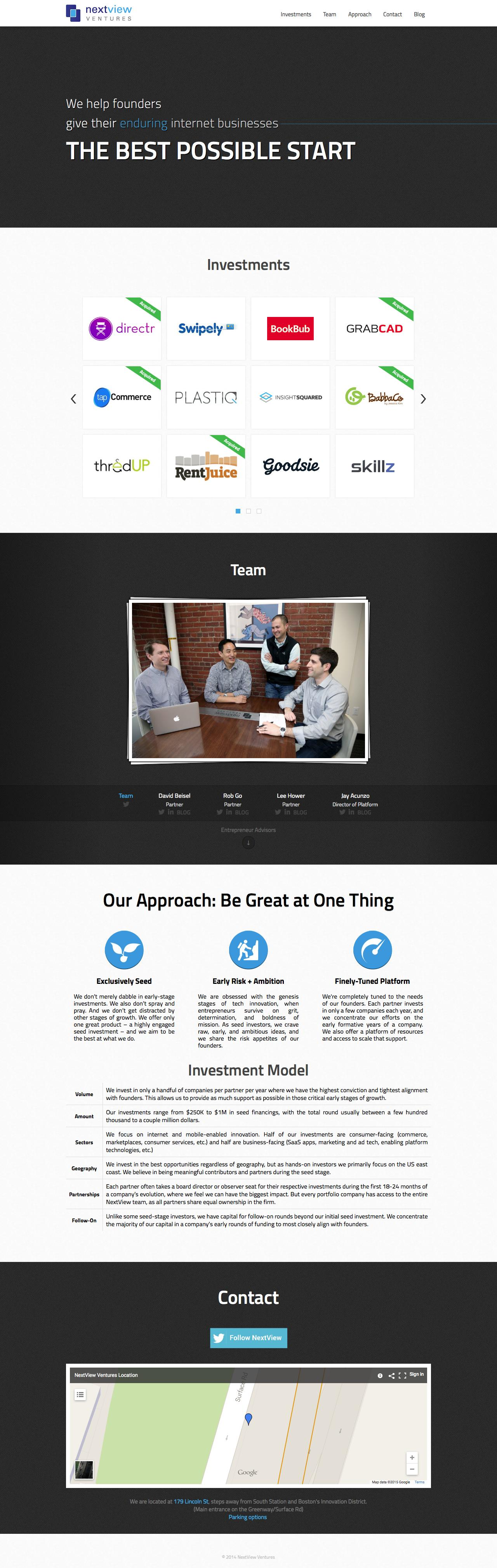 Screenshot of nextviewventures.com - NextView Ventures - captured Feb. 2, 2015