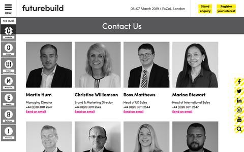 Screenshot of Contact Page futurebuild.co.uk - Futurebuild 2019 | Contact Us - captured Sept. 27, 2018
