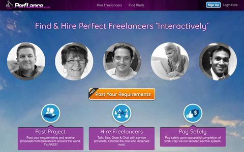 Screenshot of Home Page perflance.com - Hire Freelancers, Online Freelance Jobs, Get skilled Experts - captured Sept. 23, 2014