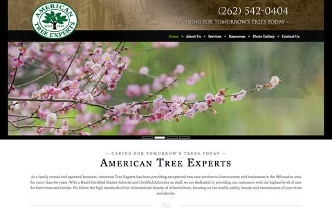 Screenshot of Home Page atetreecare.com - American Tree Experts | Tree specialists since 1950 | New Berlin, WI - captured Oct. 4, 2014