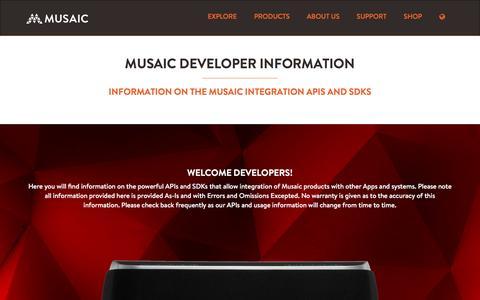 Screenshot of Developers Page musaic.com - Musaic - captured Dec. 3, 2016