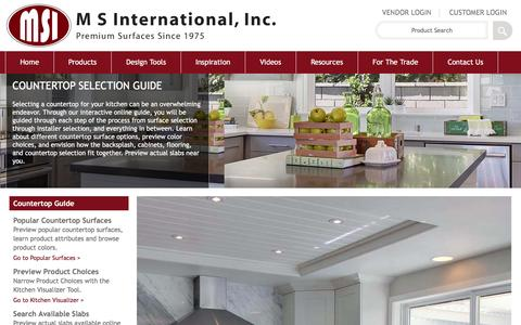 Screenshot of msistone.com - Countertop Selection and Installation Resources | MSI Stone - captured June 9, 2016