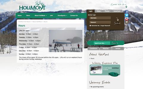 Screenshot of Hours Page holimont.com - HoliMont Ski Resort | Hours | Ellicottville, New York | Skiing, Lodging, Vacation Packages, Snowboarding, Terrain Parks, Halfpipe - captured Oct. 2, 2014