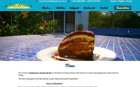 Screenshot of Menu Page playaelcoco.com.ni - Parque Marítimo El Coco - captured July 14, 2017