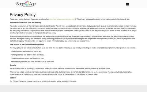 Screenshot of Privacy Page sageagestrategies.com - Privacy Policy | Sage Age Strategies - captured July 13, 2019