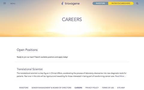 Screenshot of Jobs Page trovagene.com - Search Careers   Trovagene - captured Dec. 6, 2016