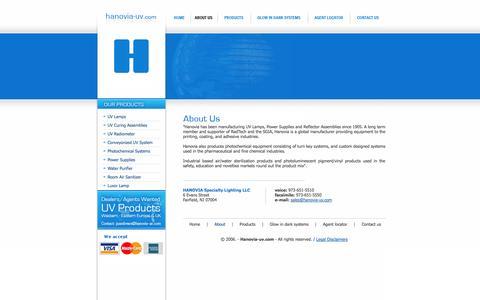 Screenshot of About Page hanovia-uv.com - hanovia-uv.com - captured Oct. 1, 2014