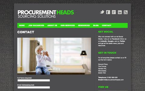Screenshot of Contact Page procurementheads.com - Contact | Procurement Heads - captured Sept. 30, 2014