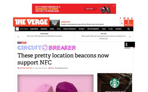 Screenshot of theverge.com - These pretty location beacons now support NFC | The Verge - captured July 9, 2016