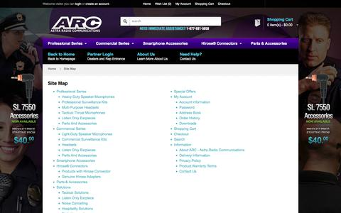 Screenshot of Site Map Page arcmics.com - Site Map | ARC - captured Oct. 4, 2014