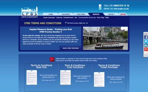 Screenshot of Terms Page cpbs.co.uk - Party Boat Hire Terms and conditions   London's River Thames   Capital Pleasure Boats - captured Oct. 1, 2014