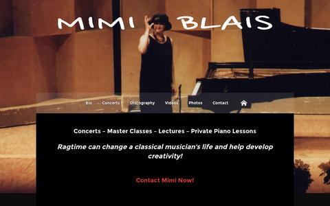 Screenshot of Home Page mimiblais.com - Mimi Blais | Queen of Ragtime - captured Oct. 9, 2015