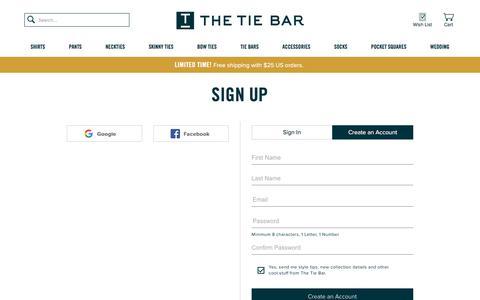 Screenshot of Signup Page thetiebar.com - All Ties | Mens Ties | Discount Neckties | Silk Neckties | Mens Silk Neckties | Long Ties | Paisley Ties | Cotton Ties | Silk Knit Ties - captured April 29, 2018
