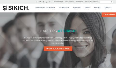 Screenshot of Jobs Page sikich.com - Careers | Sikich LLP - captured Feb. 4, 2018