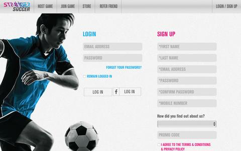 Screenshot of Login Page strangersoccer.com - Login - Stranger Soccer Singapore - captured Jan. 11, 2016
