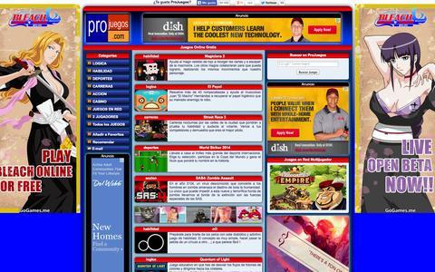 Screenshot of Home Page projuegos.com - Juegos Gratis, Juegos Online, Pro Juegos - captured Sept. 19, 2014