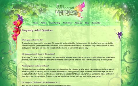 Screenshot of FAQ Page companyoffairies.com - Frequently Asked Questions - In the Company of Fairies - captured Oct. 4, 2014