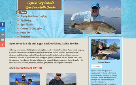 Screenshot of Home Page specfever.com - Fishing Guide - Spec Fever Guide Service - captured Dec. 6, 2016