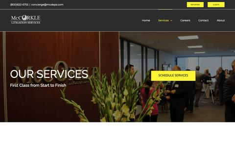 Screenshot of Services Page mcdeps.com - Services - McCorkle - captured Oct. 17, 2018