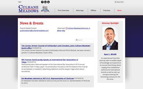 Screenshot of Press Page culhanemeadows.com - News and Updates | Culhane Meadows PLLC - captured Nov. 2, 2014