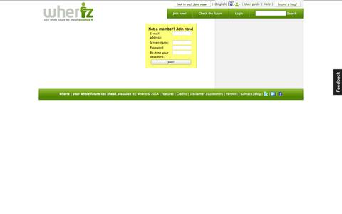 Screenshot of Signup Page wheriz.es - wheriz | Manage, share and synchronize your geo-localized agenda - captured Oct. 9, 2014