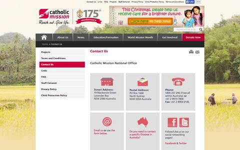 Screenshot of Contact Page catholicmission.org.au - Catholic Mission - Contact Us - captured Dec. 7, 2015