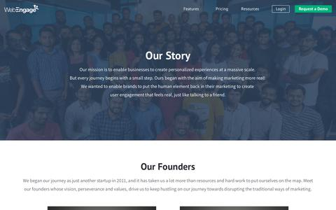 Screenshot of About Page webengage.com - About Us | WebEngage - captured Oct. 13, 2018