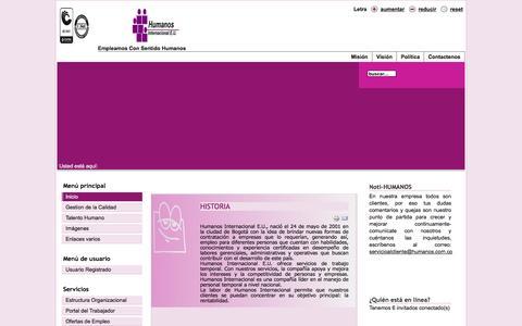 Screenshot of Home Page humanos.com.co - Bienvenidos a la portada - captured Feb. 1, 2016