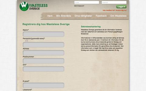Screenshot of Signup Page wasteless-sverige.se - Signup - captured Sept. 30, 2014