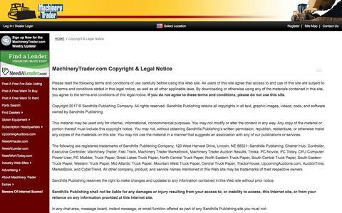 Screenshot of Terms Page machinerytrader.com - MachineryTrader.com | Copyright & Legal Notice. - captured May 27, 2017