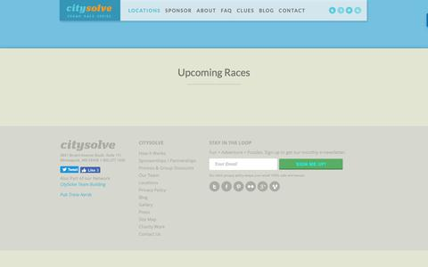 Screenshot of Locations Page citysolveurbanrace.com - Locations - CitySolve Urban Race - captured Nov. 10, 2018