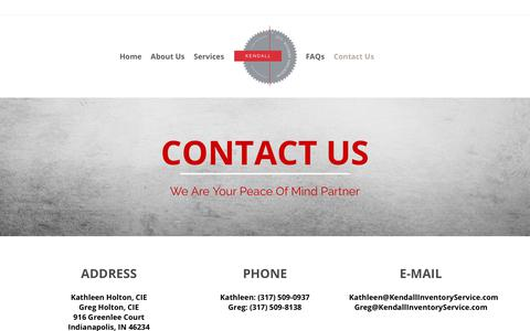 Screenshot of Contact Page kendallinventoryservice.com - Contact Us | Kendall Inventory Services, LLC - captured Oct. 15, 2018