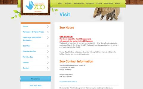 Screenshot of Hours Page lincolnzoo.org - Plan Your Visit - captured Jan. 30, 2016