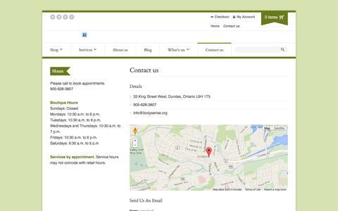 Screenshot of Contact Page bodysense.org - Contact us | Body Sense - captured Sept. 30, 2014