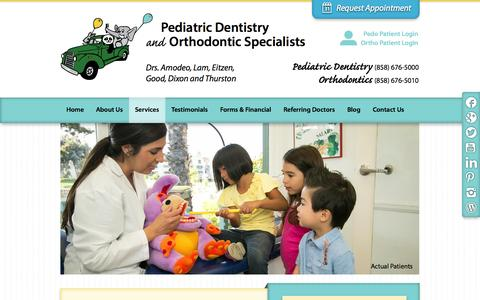 Screenshot of Services Page pdospecialists.com - San Diego Pediatric Dentist | Pediatric Dentistry | PDO Specialists - captured Oct. 2, 2014