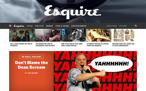 Screenshot of Home Page esquire.com - Esquire - Men's Fashion, Cocktails, Politics, Interviews, and Women - captured Jan. 31, 2016