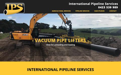 Screenshot of Home Page int-pipe-serv.com - International Pipeline Services (IPS) supplying equipment to pipeline layers - captured Oct. 12, 2018