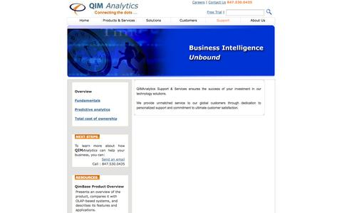Screenshot of Support Page qimanalytics.com - The Information Management & Analytics (IMA) appliance company - captured Sept. 26, 2014