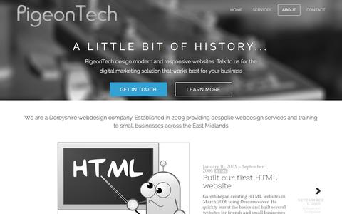 Screenshot of About Page pigeontech.co.uk - PigeonTech - About us - captured Nov. 2, 2014