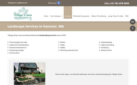 Screenshot of Services Page villagegreenlandscapeinc.com - Landscaping Company, Lawn Maintenance | Hanover, MA - captured Dec. 20, 2018