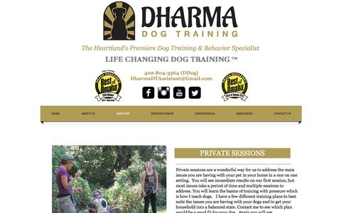 Screenshot of Services Page dharmadogtraining.com - Dog Training Omaha, Dog Trainer Omaha, Dog Behavior omaha - captured June 4, 2017