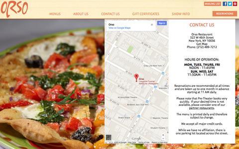 Screenshot of Contact Page orsorestaurant.com - Contact Us | Address | Map | Orso Restaurant - captured Nov. 1, 2014
