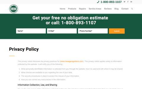 Screenshot of Privacy Page mesagaragedoors.com - Privacy Policy - Mesa Garage Doors - captured Nov. 18, 2017