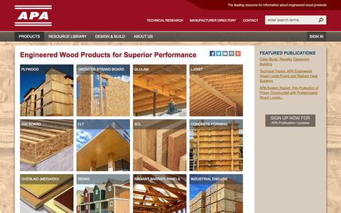 Screenshot of Products Page apawood.org - Products - APA – The Engineered Wood Association - captured Nov. 2, 2014