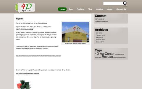 Screenshot of Home Page 4-dominica.com - 4D Ag-Center - captured Oct. 6, 2014
