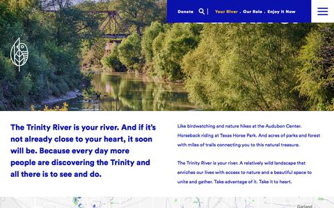 Screenshot of Maps & Directions Page trinityparkconservancy.org - Your River - Trinity Park Conservancy - captured Feb. 9, 2018