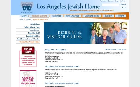 Screenshot of Maps & Directions Page jha.org - Contact the Jewish Home - Los Angeles Jewish Home - captured Oct. 3, 2014